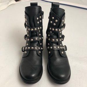 Steve Madden Spunky silver studded black boots 8M